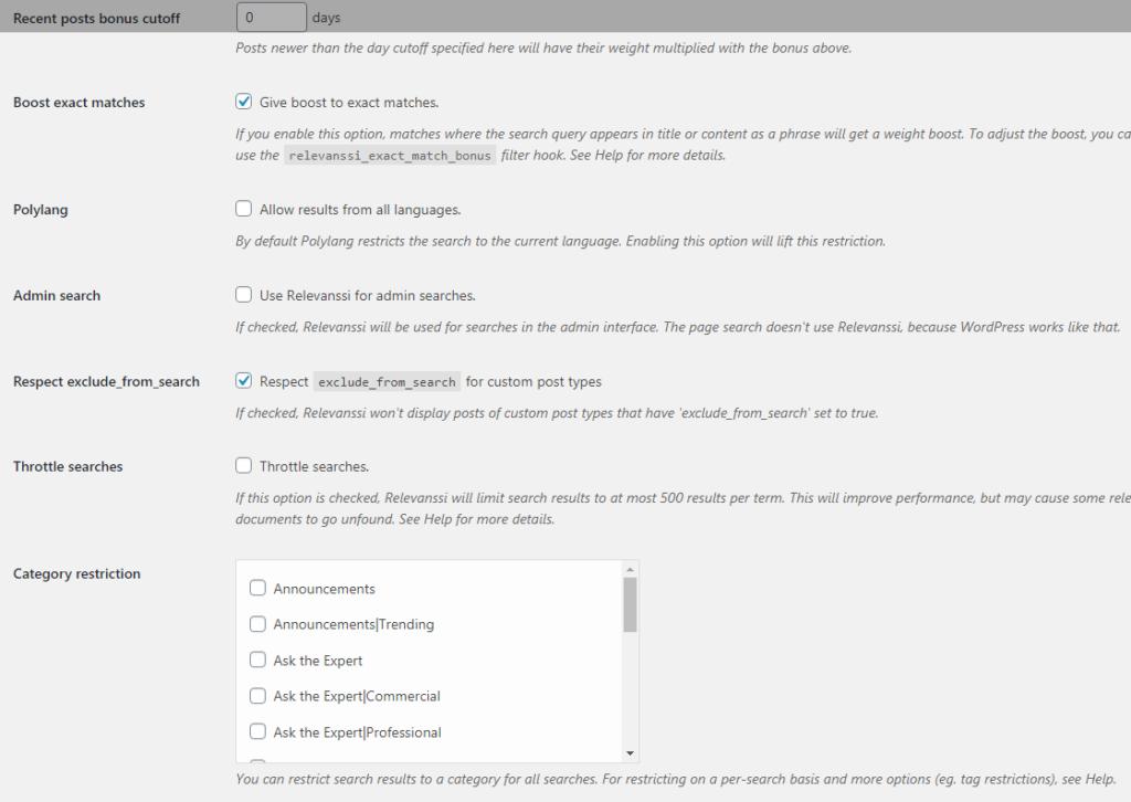 relevanssi plugin extra settings