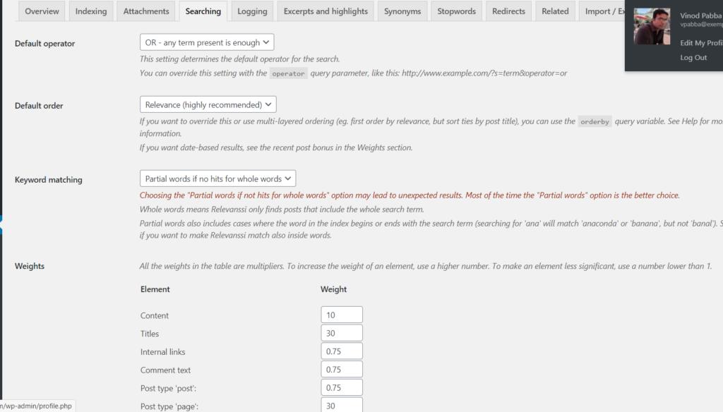 relevanssi wordpress plugin advance settings