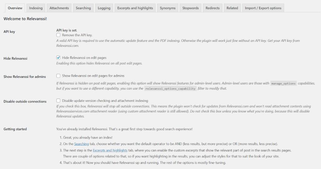 relevanssi wordpress plugin overview screen