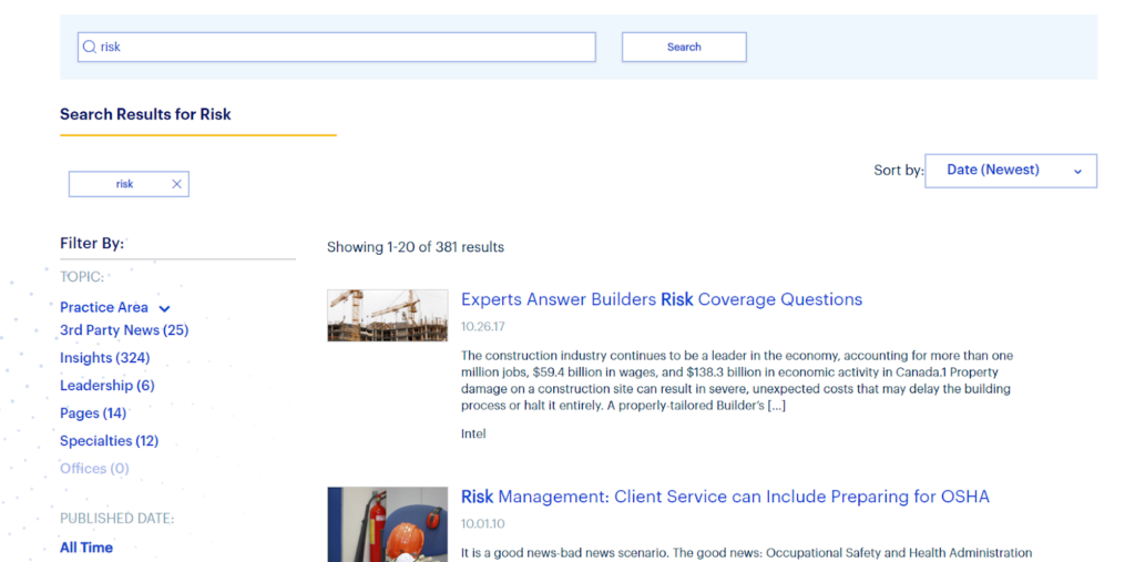 facet search result page