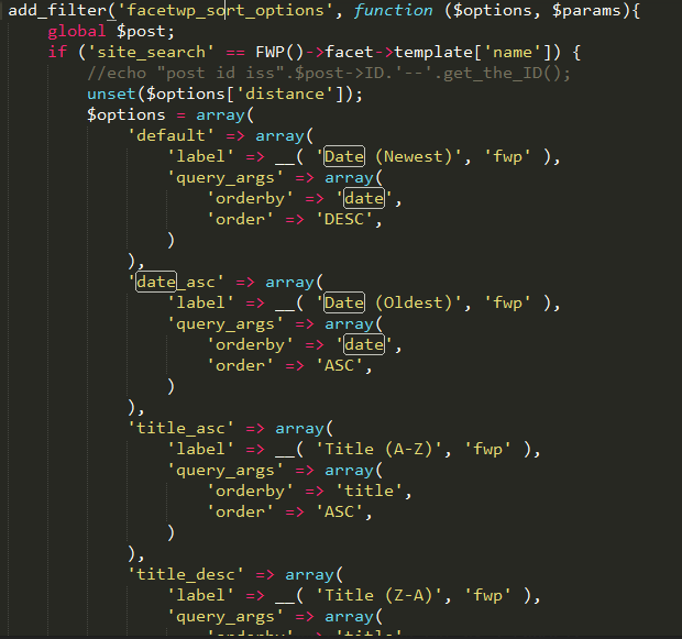 php code for sorting facetwp search result page