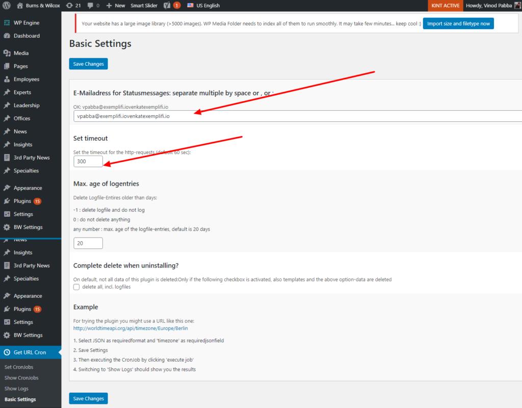 wordpress email notification setup page