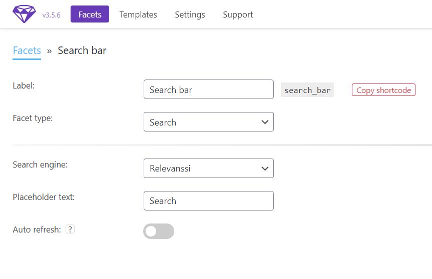 facetWP search bar settings in WordPress