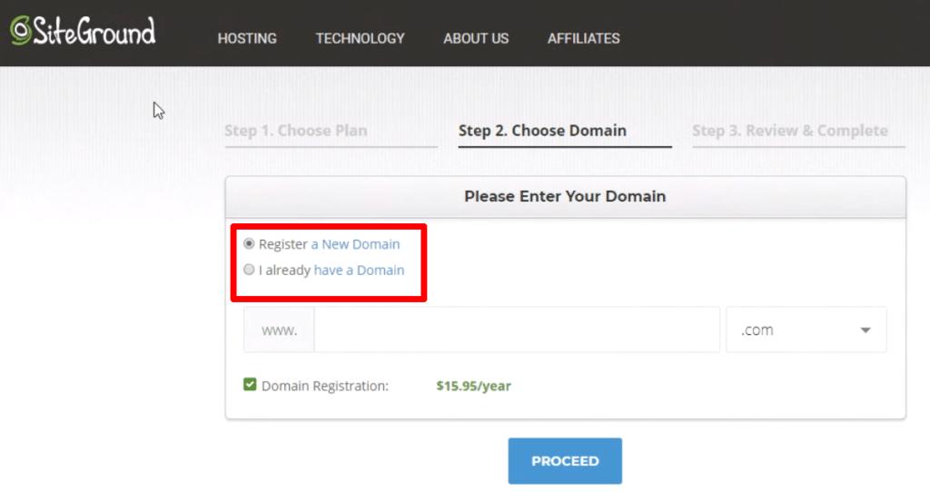 siteground domain setup page