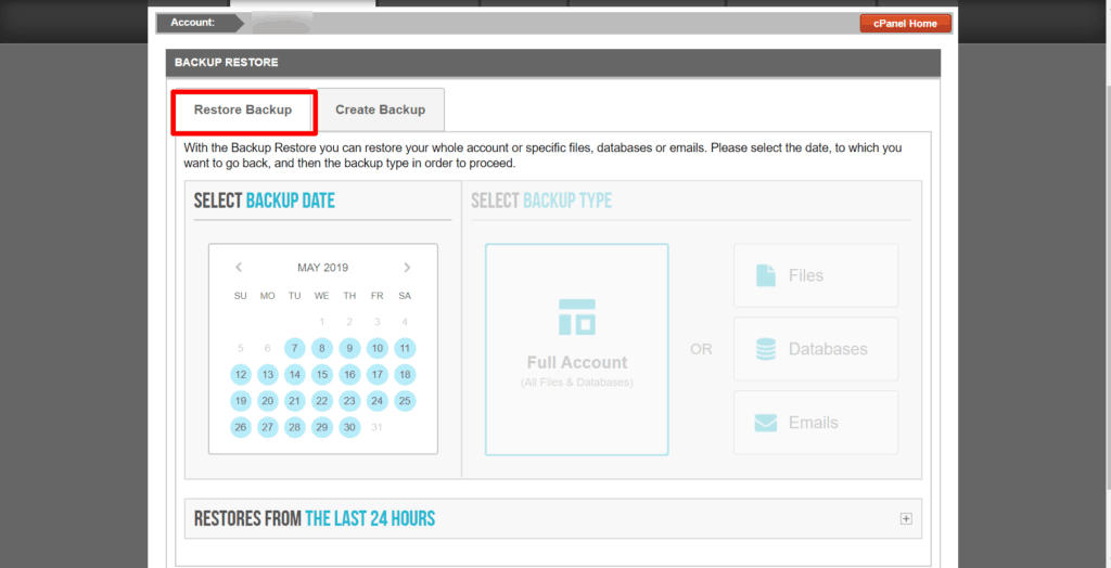 siteground restore settings page