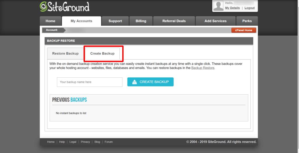 siteground backup settings