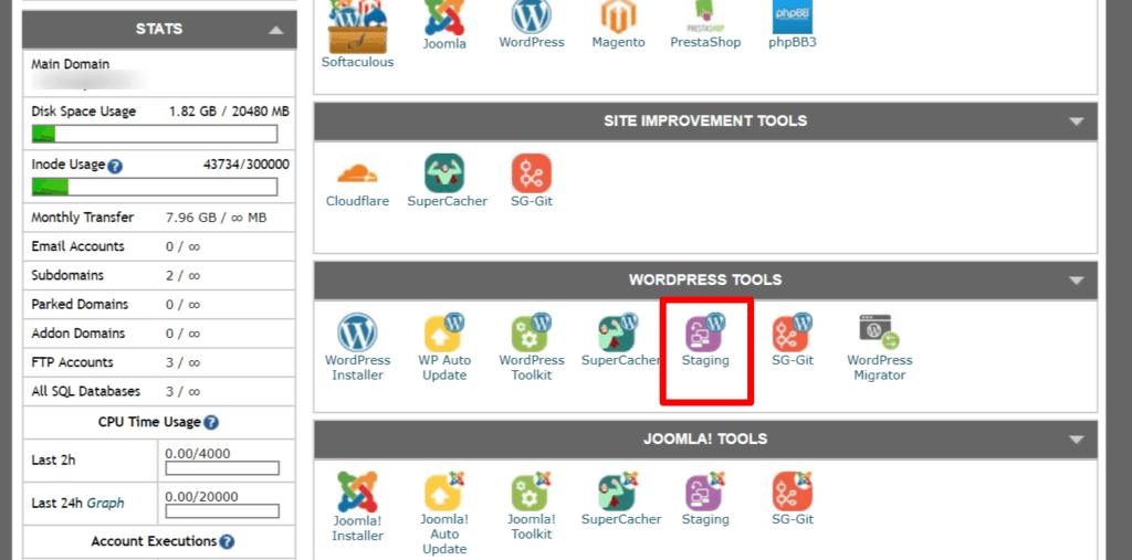 siteground wordpress tools admin page