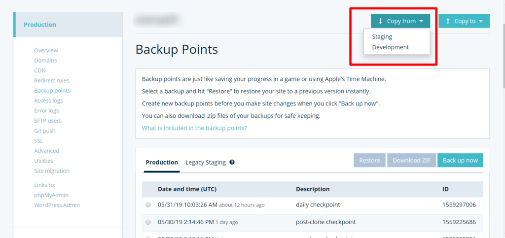 wpengine backup points page