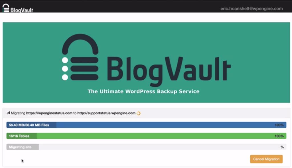 wordpress back up service by blogvault