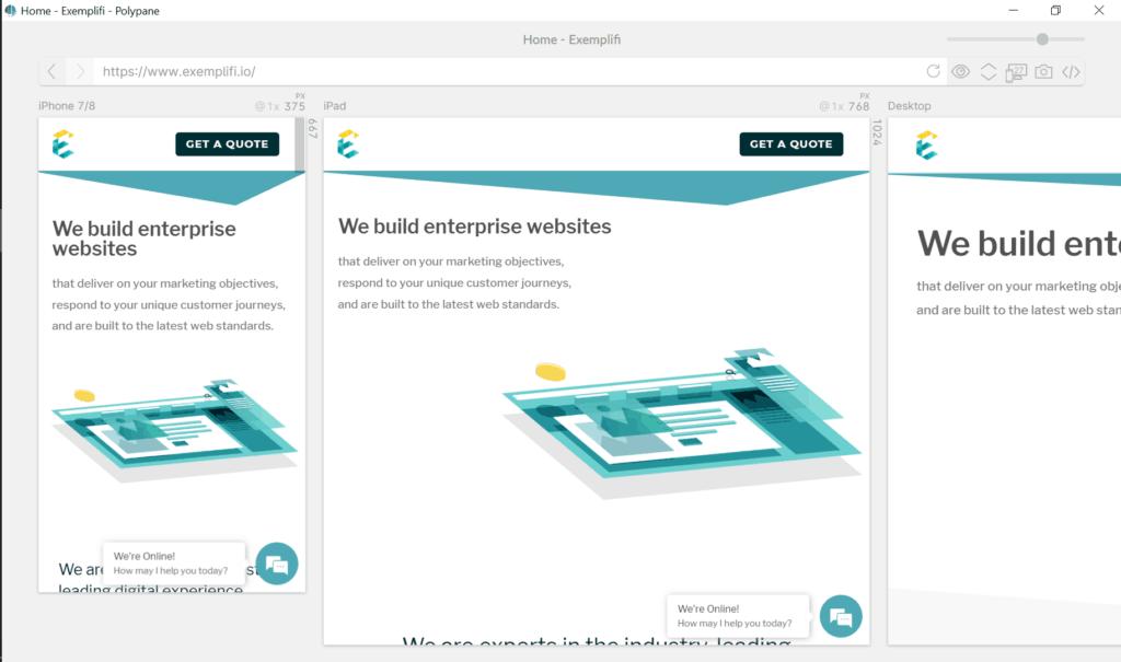exemplifi we build enterprise websites polypane design page