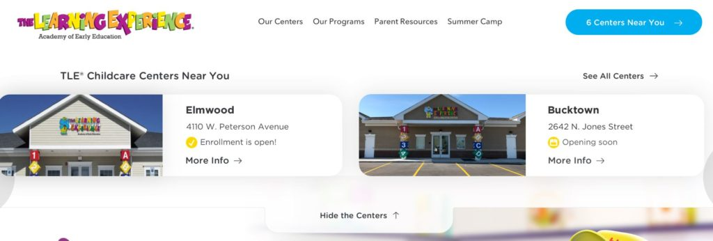 the learning experience page with geo targeting