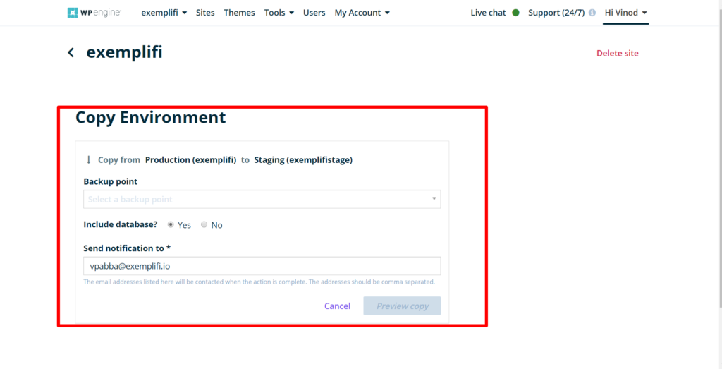 wpengine copy environment