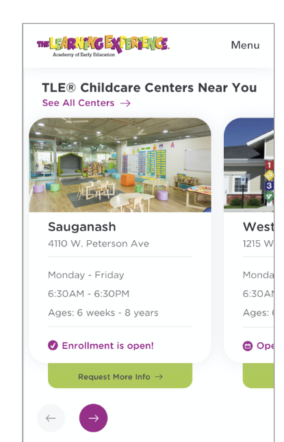 the learning experience mobile page