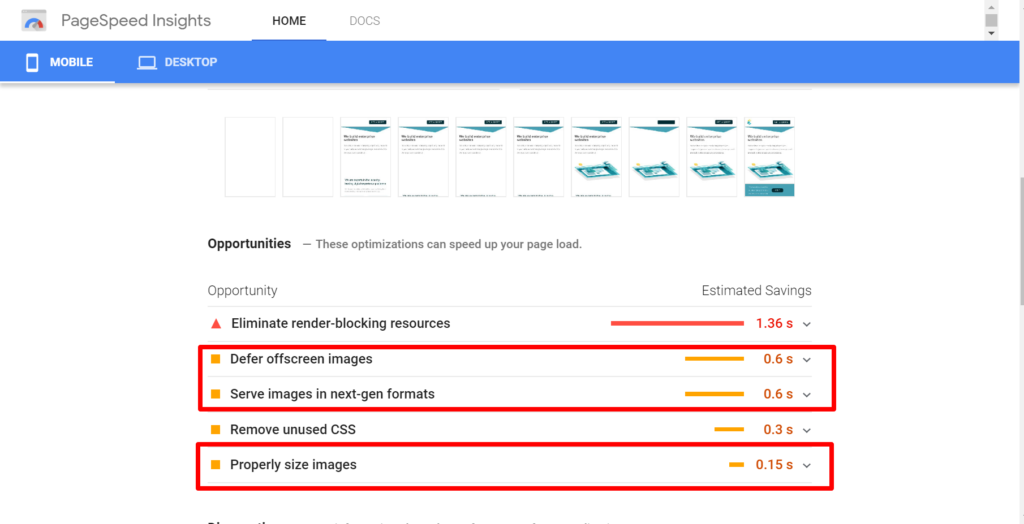 page speed insights screen