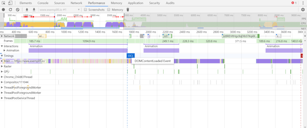 chrome dev tools performance tab