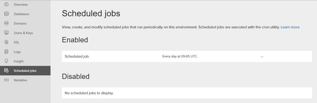 scheduling jobs screen