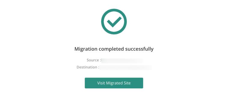 website migration success screen