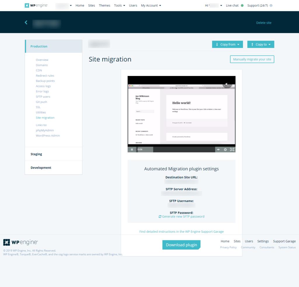 website migration screenshot