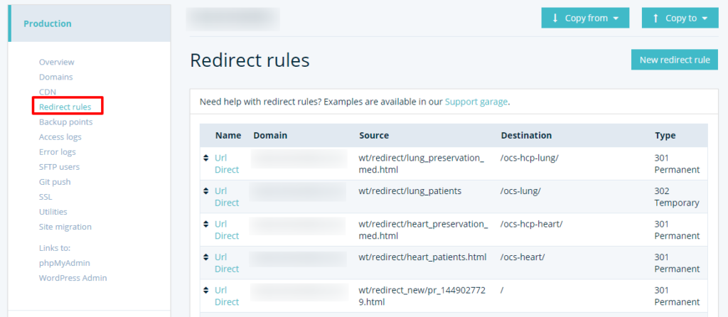 redirect rules in wpengine