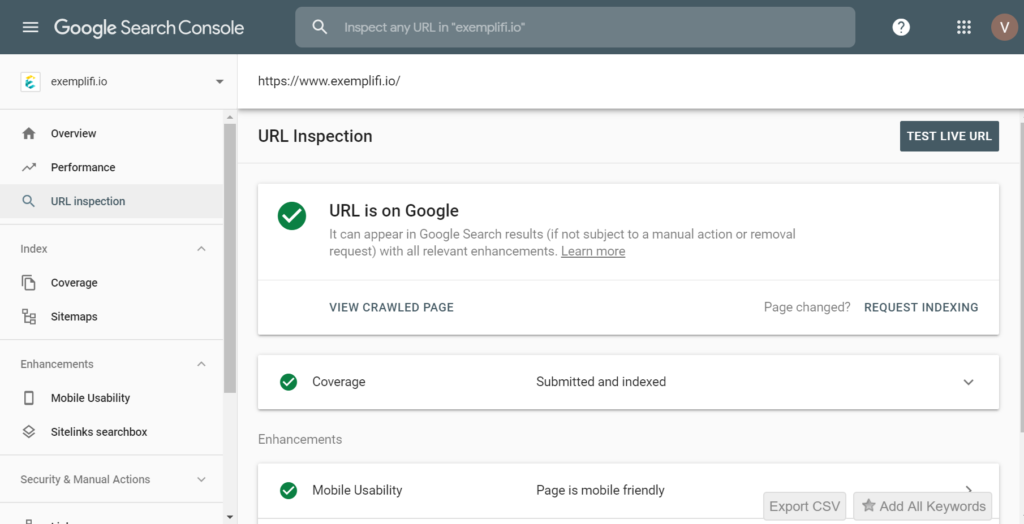 google search console url inspection screen
