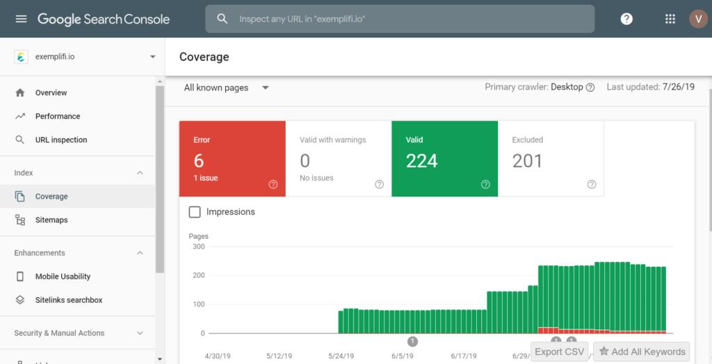 google search console coverage screen