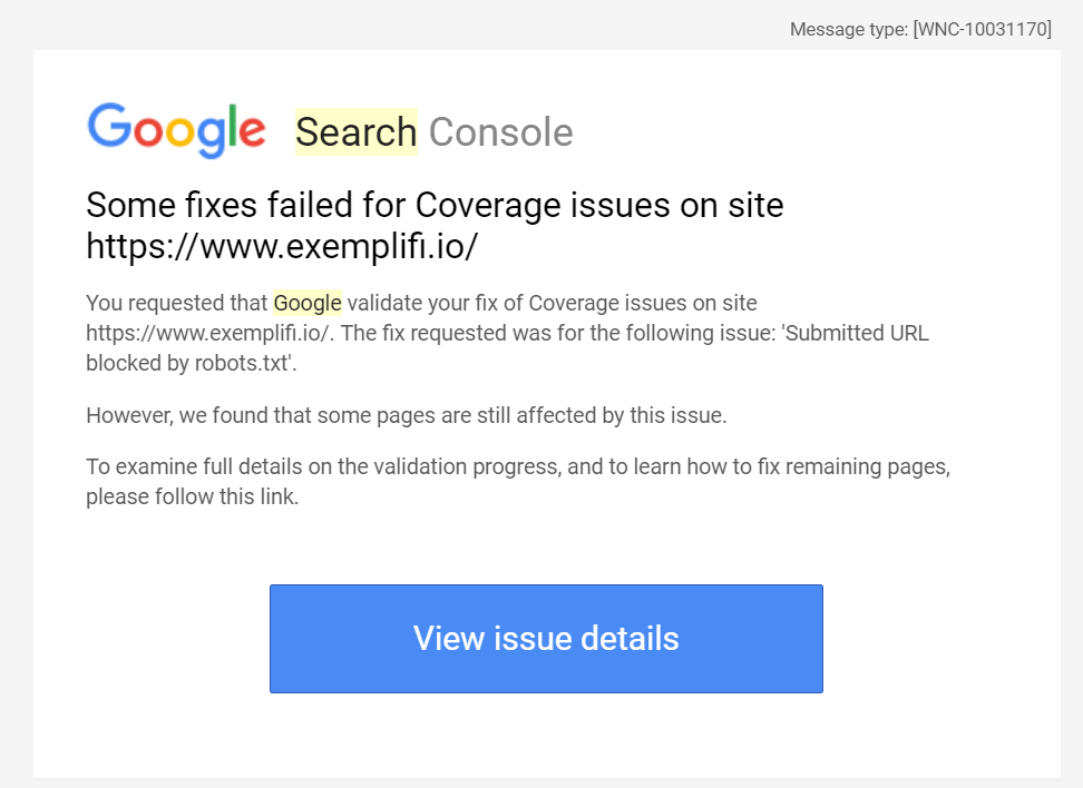 search console alerts and notification