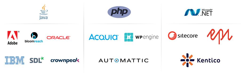 logo's of popular CMS platforms