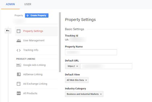 google analytics admin page