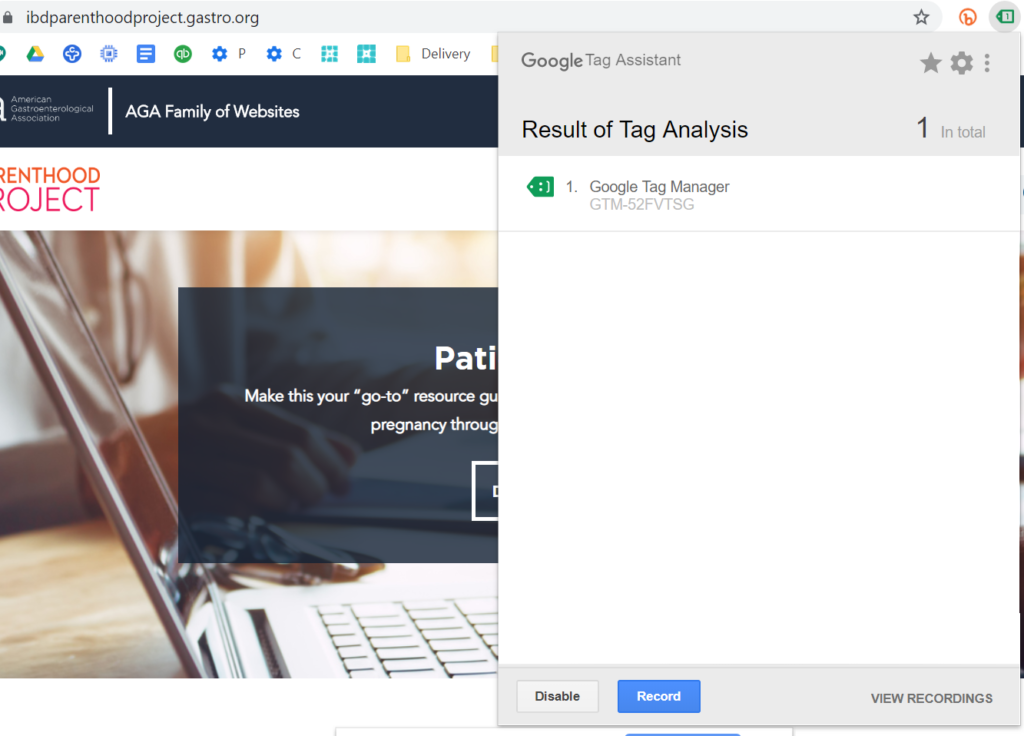 chrome extension for google tag manager