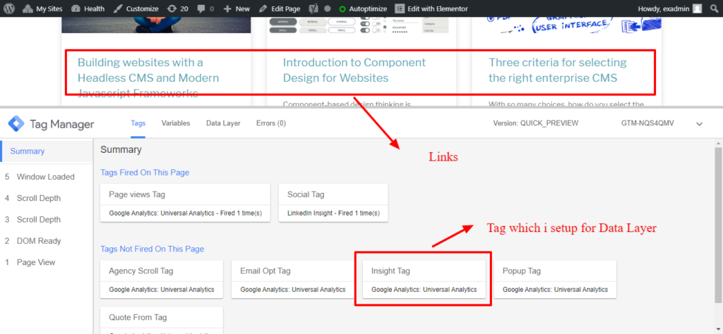 tag testing in GTM