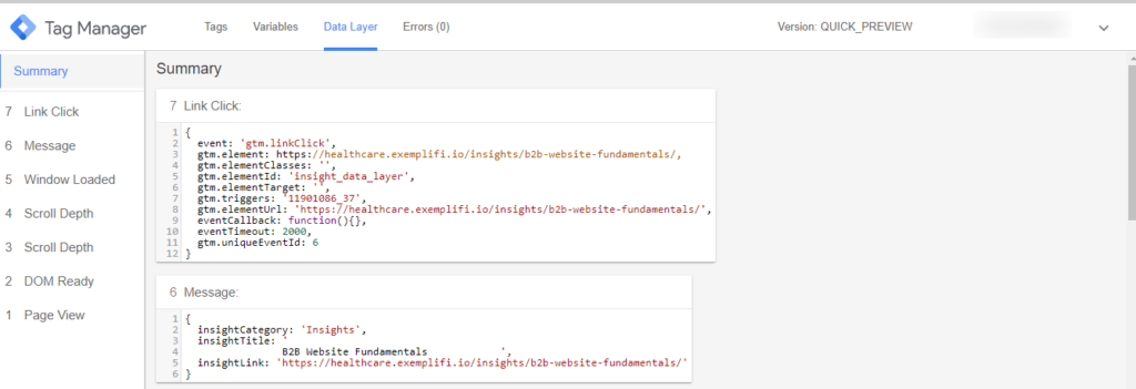 data layer snippet in GTM