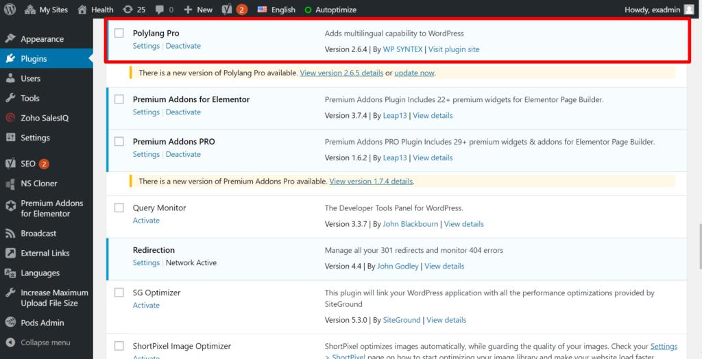 wordpress plugin installation page