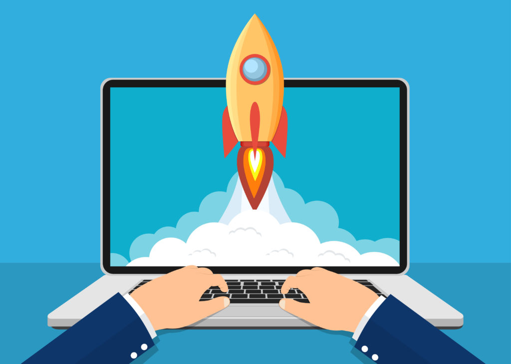 rocket shooting out of a laptop