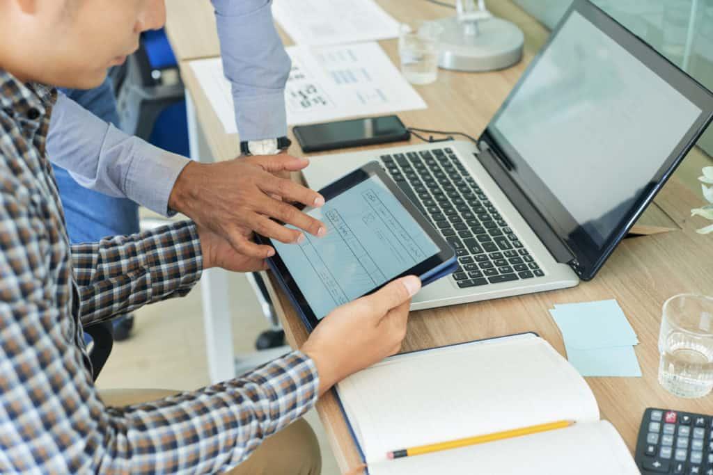 UX designer showing work image