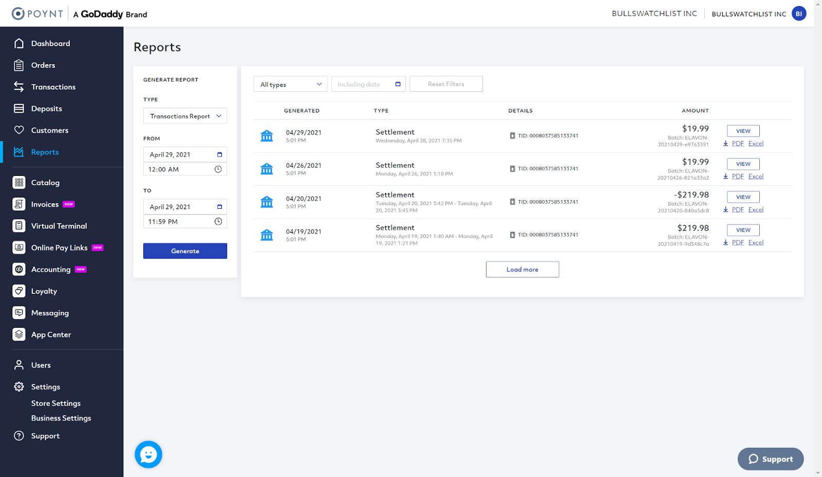 poynt payment reports screenshot