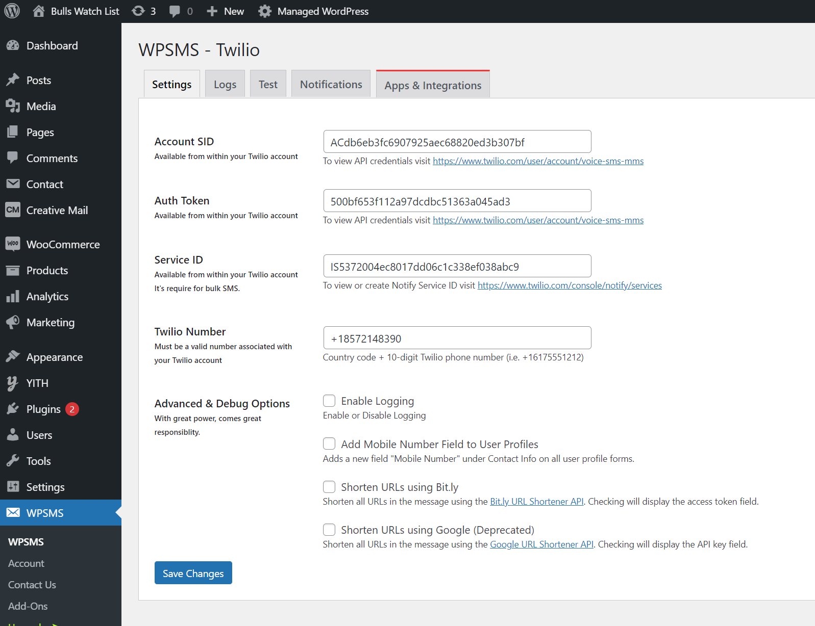 wpsms twilio plugin settings screen