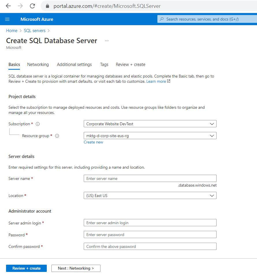 creating sql databases on azure