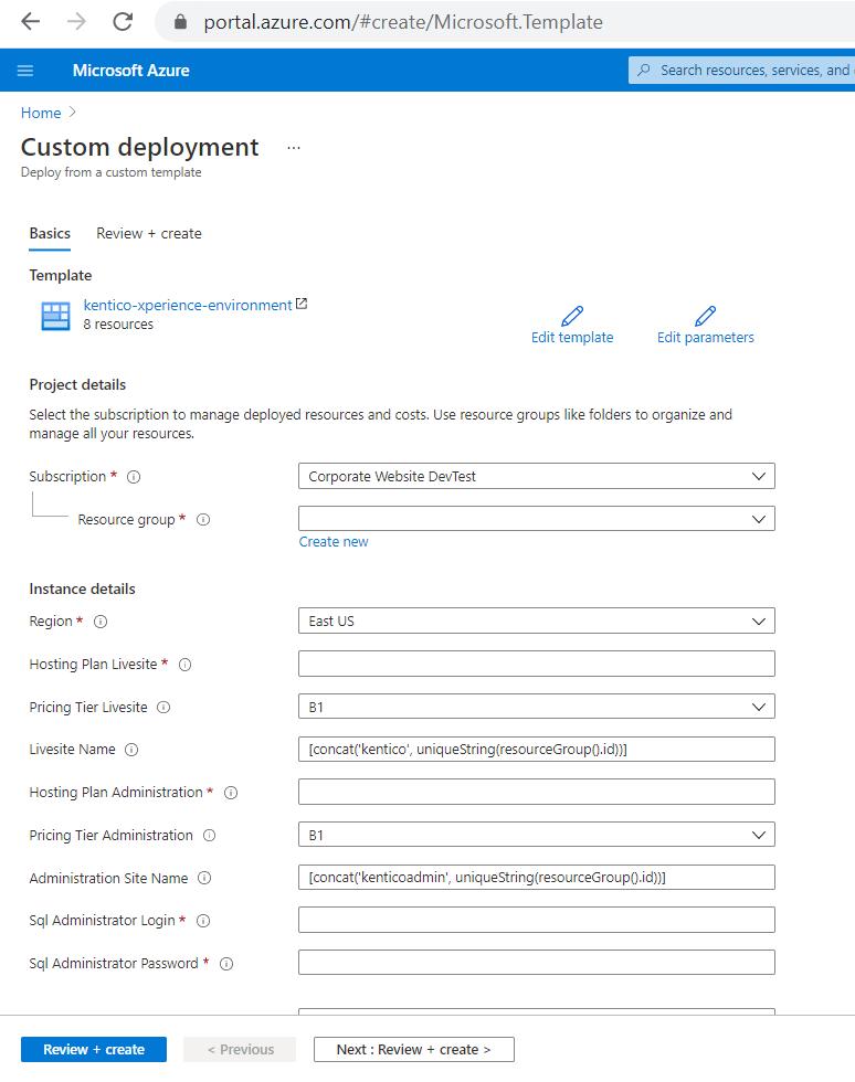 custom deployment in azure