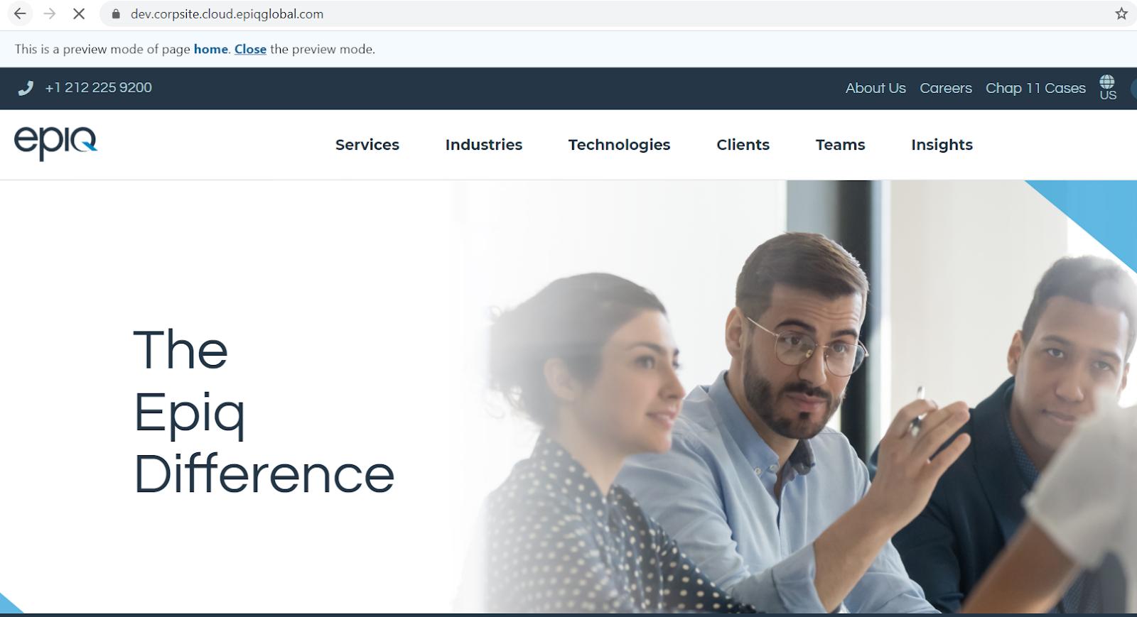 exemplifi epiq front page enterprise website