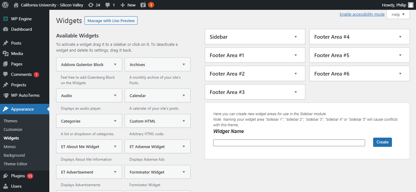 wordpress widget screen