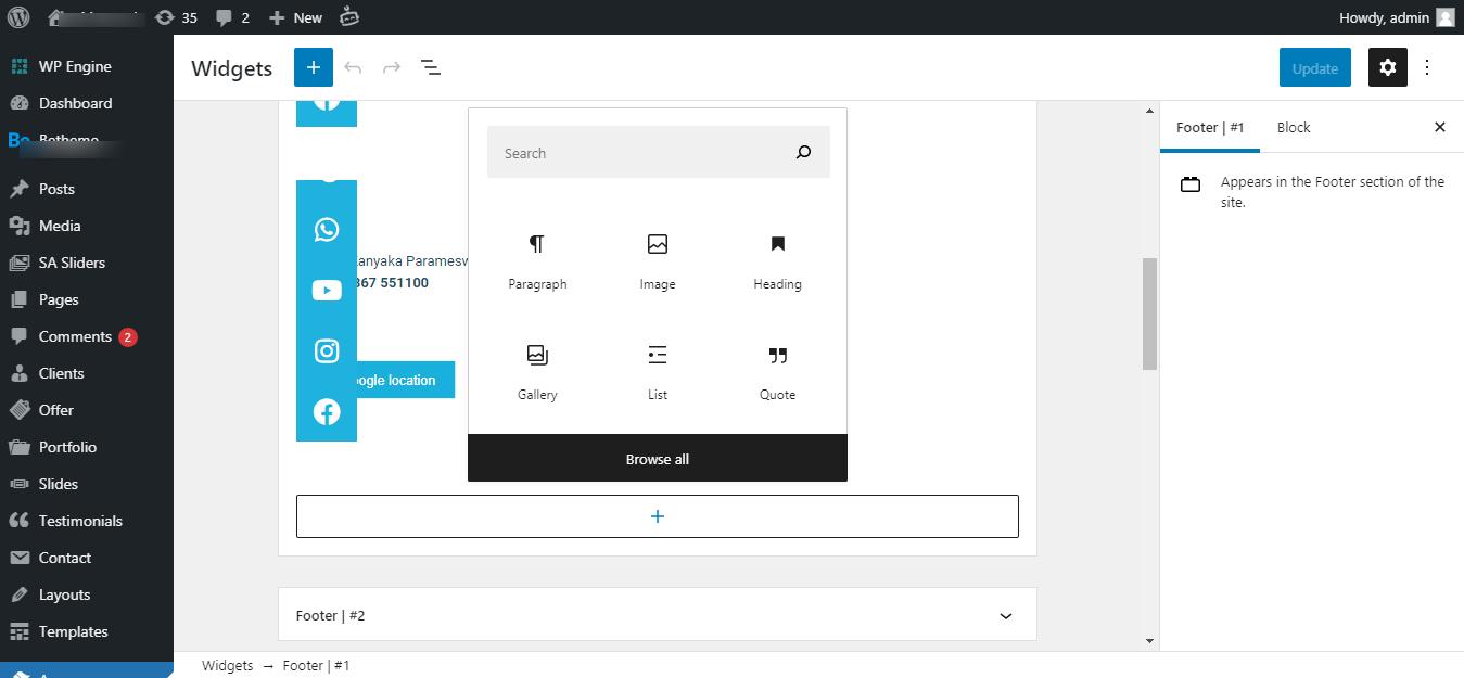 wordpress 5.8 widget screen