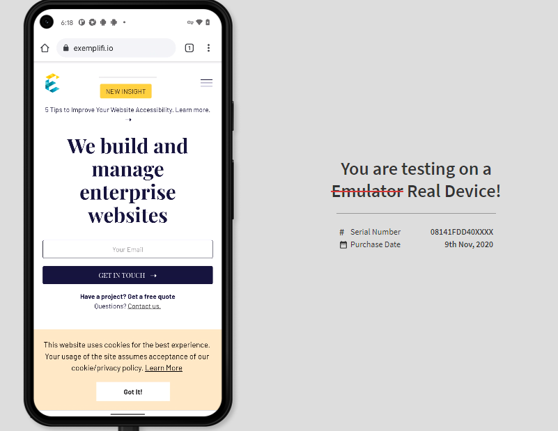 real device test page