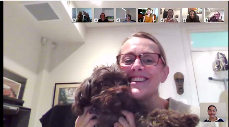 Screenshot of a team video conference call