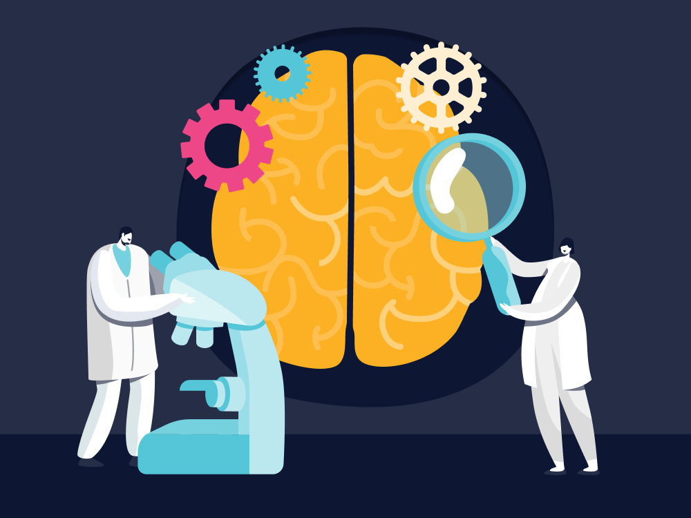 Illustration of scientists examining a brain