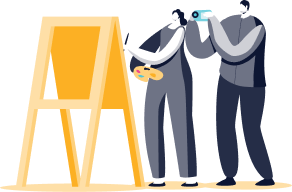 Illustration of two characters painting at an easel