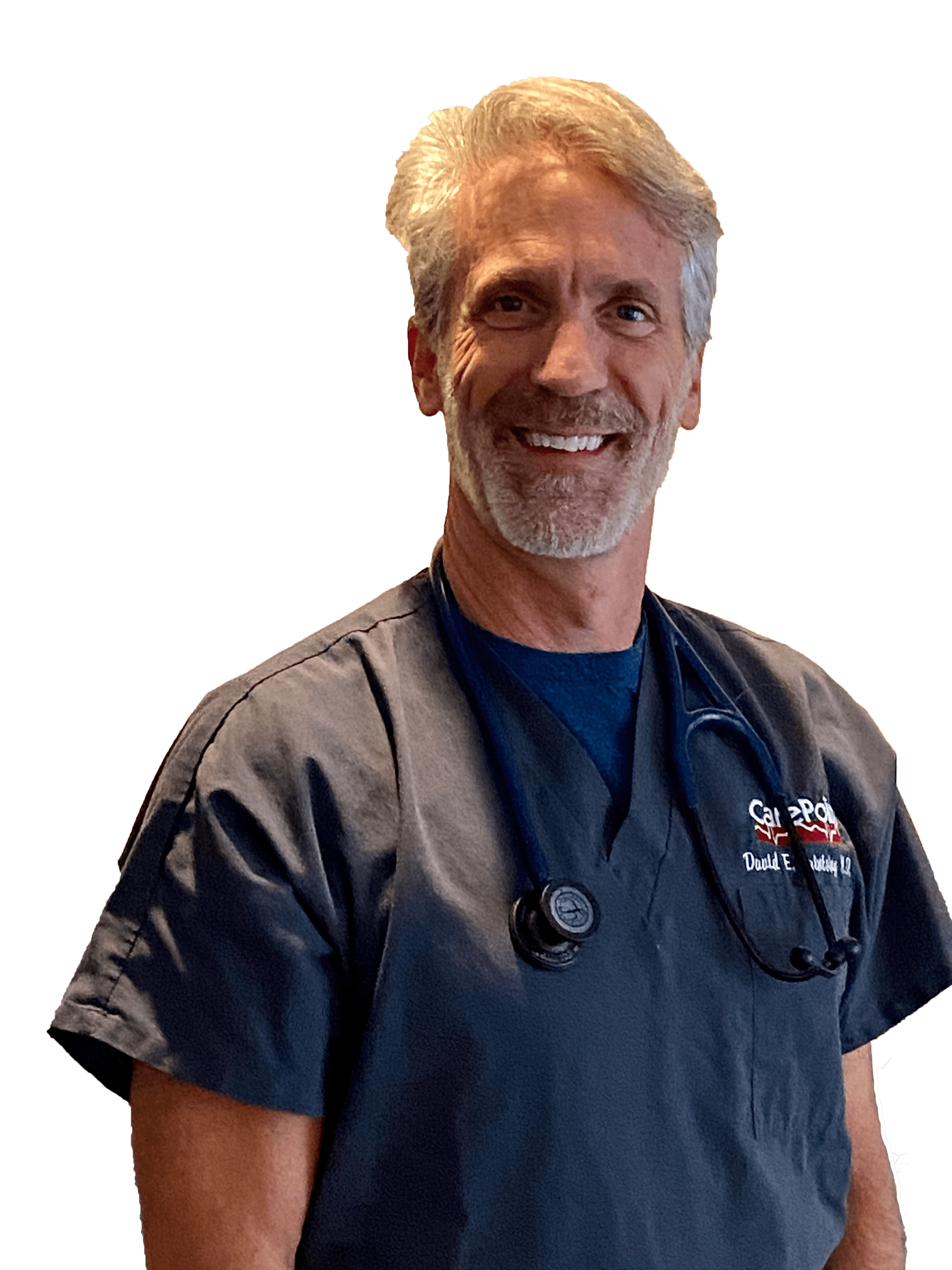 Dr. David Saintsing, M.D. in navy blue scrubs with stethoscope around shoulders and smiling