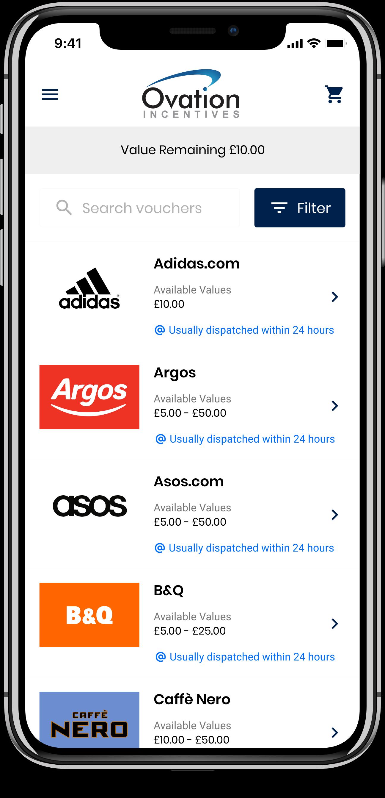 Rewards webshop on iPhone