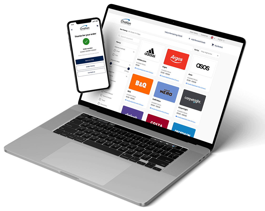Phone and laptop displaying our rewards Webshop