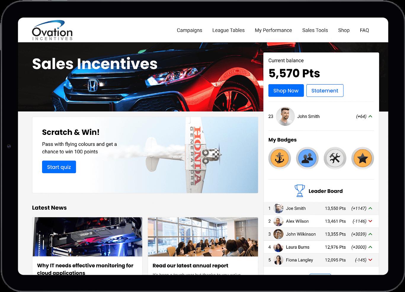 Sales platform on tablet