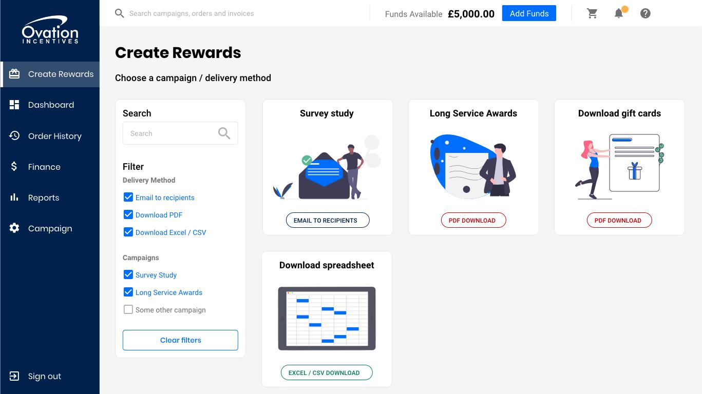 Create rewards page